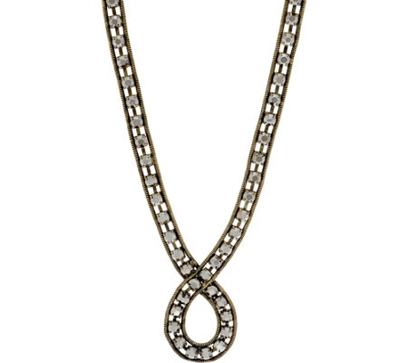 LOGO Links Rhinestone Chain Loop Necklace