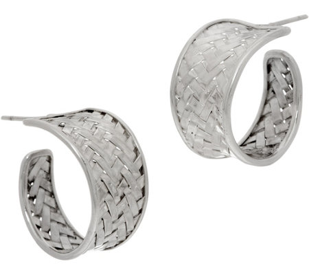 EXEX by Claudia Agudelo Sterling Silver Woven Tapered Hoop Earrings