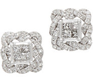 Princess & Round Pave Rope Border Studs, 1/2 cttw, 14K, by Affinity - J352053