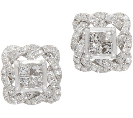 Princess & Round Pave Rope Border Studs, 1/2 cttw, 14K, by Affinity
