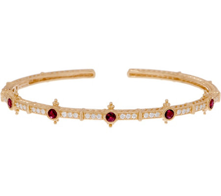 Judith Ripka 14K Gold Ruby, Emerald or Sapphire & Diamond Cuff