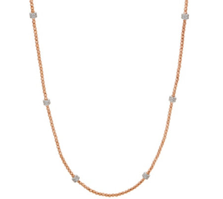 "Italian Silver 16"" Diamonique Diamond Cut Bead Necklace"