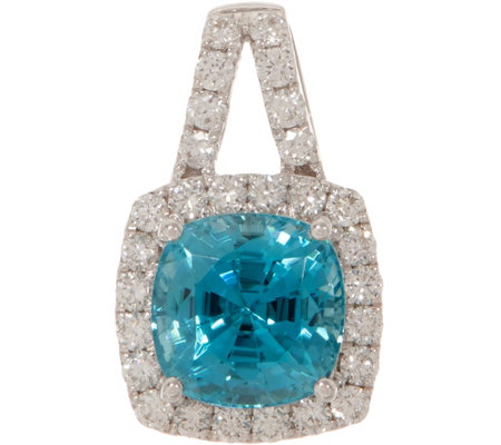 Cushion Cut Blue Zircon and Diamond Pendant, 14K, 2.00 cttw