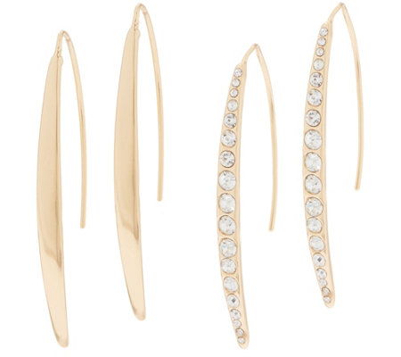 Joan Rivers Set of 2 Pave' and Polished Linear Drop Earrings