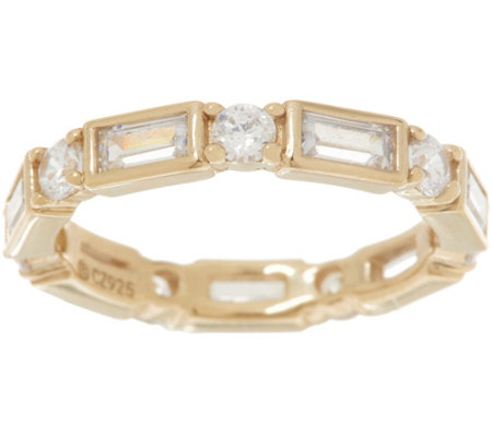 Diamonique Baguette and Round Eternity Band, Sterling or Gold Clad