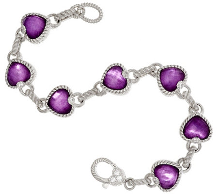"As Is"" Judith Ripka Sterling & Raspberry Doublet Heart Bracelet 7-1/4"