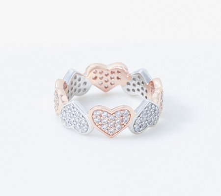 Diamonique Pave Heart Eternity Ring, Sterling Silver