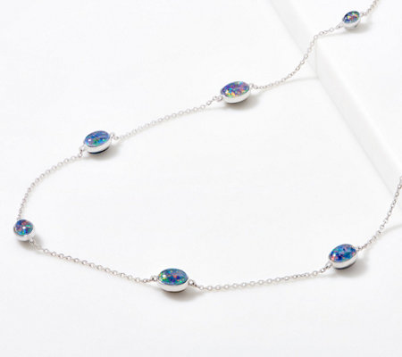 Opal Beaded Station Necklace, Sterling Silver