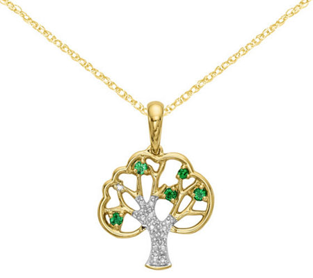 14K Green Crystal & Diamond Accent Tree Pendant with Chain