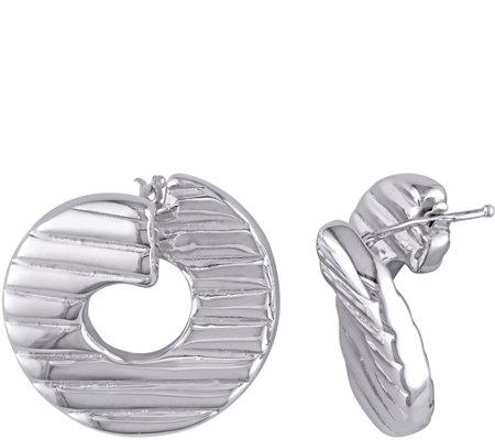 Sterling Textured Twisted Hoop Earrings by Silver Style