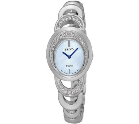 Seiko Solar Mother-of-Pearl Dial Stainless Ladies Watch