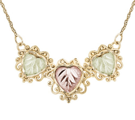 Black Hills Heart Station Necklace, 10K/12K Gold