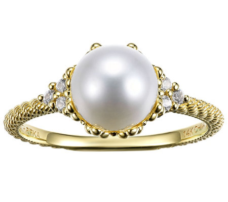 Judith Ripka 14K Gold Pearl & Diamond Accent Ring