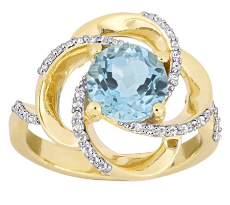 Sterling & 14K 2.60 cttw Blue & White Topaz Swirl Ring