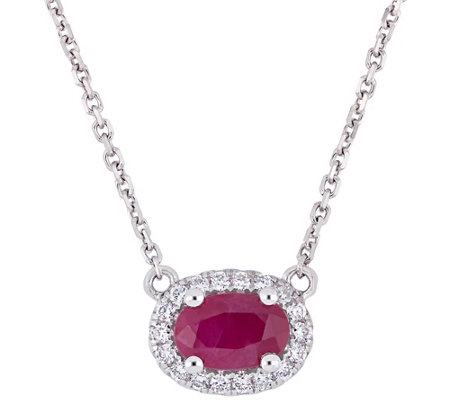 14k Gold Ruby Diamond Halo Vintage Style Necklace