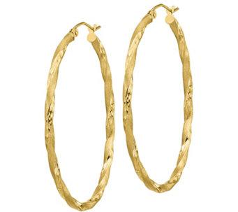 14k Gold 1 3 4 Twisted Oval Hoop Earrings J385753