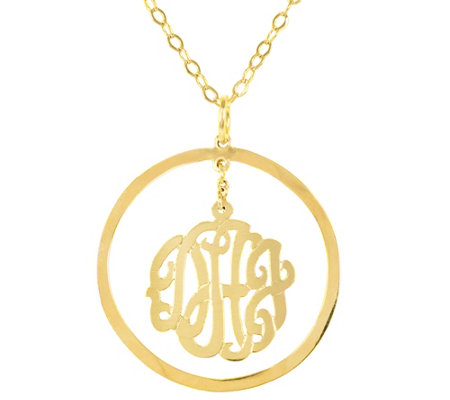 24k Plated Sterling Personalized Chandelier Monogram Necklace