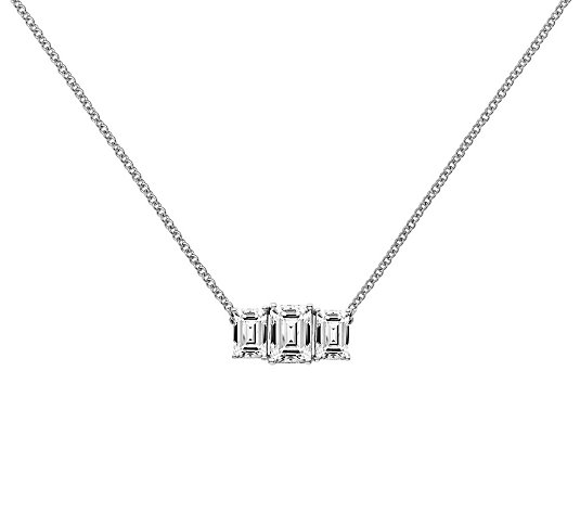 Moissanite 1.95 cttw 3-Stone Necklace, 14K Gold