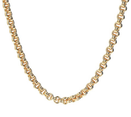 "Oro Nuovo 24"" Double Rolo Link Necklace w/ Magnetic Clasp, 14K"