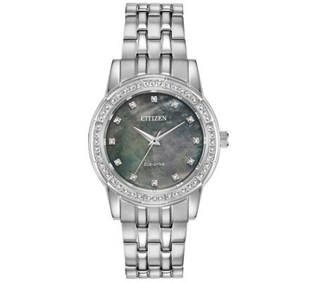 Citizen Eco-Drive Women's Crystal Bezel with Gray Dial