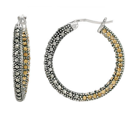 Suspicion Sterling Marcasite & Champagne Crystal Hoop Earring