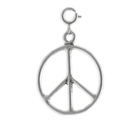 Sterling Peace Sign Charm