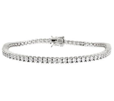 Diamonique 100 Facet Tennis Bracelet Platinum Clad