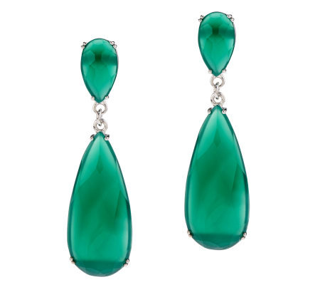 Green Agate Elongated Teardrop Sterling Dangle Earrings