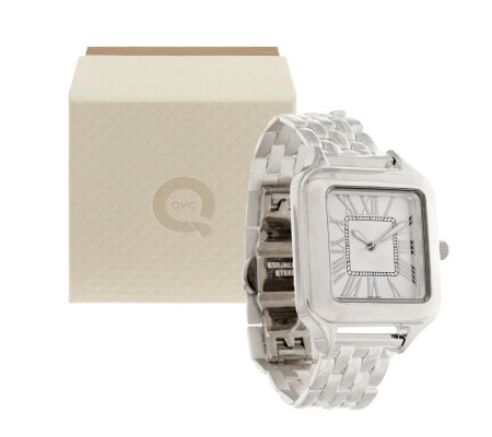 UltraFine Silver Roman Numeral Cushion Dial Panther Link Band Watch