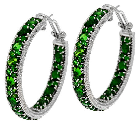 Judith Ripka Sterling 8.00cttw Chrome Diopside Hoop Earrings