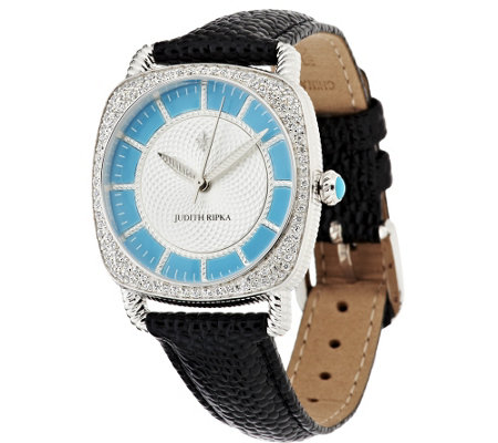 Judith Ripka Stainless Steel or Goldtone Sleeping Beauty Turquoise Watch