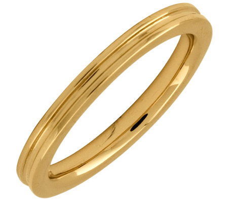 Simply Stacks Sterling 18K Yellow Gold-Pltd 2.25mm Groove Ring