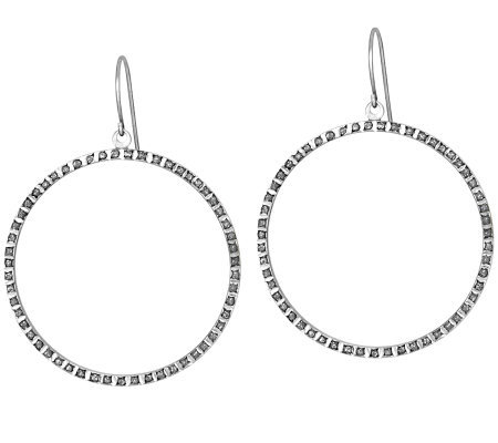 Diamond Fascination Sterling Circle Dangle Earrings