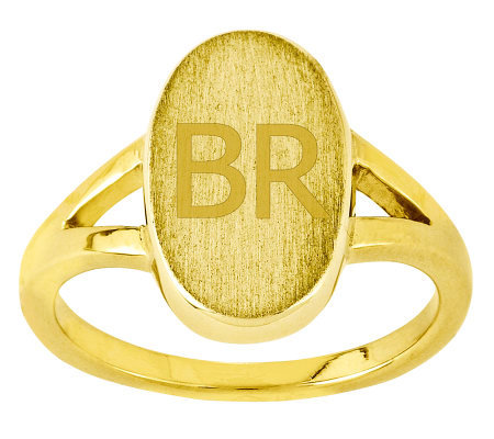 Personalized Satin Oval Signet Ring, 14K Gold