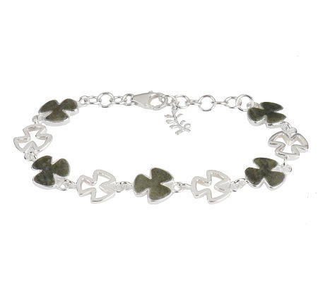 Connemara Marble and Sterling Shamrock Link Bracelet