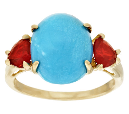 """As Is"" Sleeping Beauty Turquoise & 0.40 cttw Fire Opal Ring, 14K"