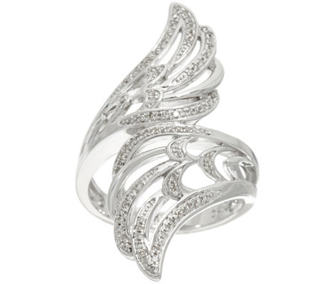 Angel Wing Bypass Diamond Ring, Sterling, 1/5 cttw, by Affinity