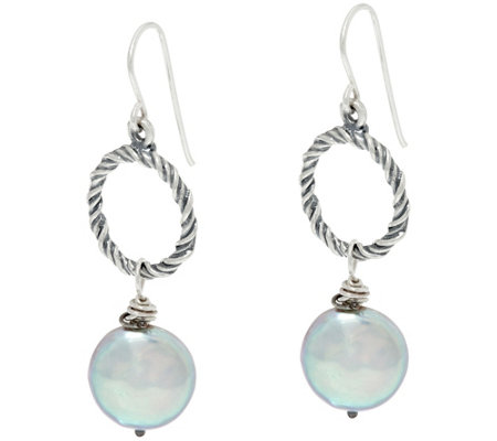 Sterling Silver Cultured Coin Pearl Drop Earrings by Or Paz