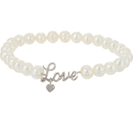 Honora Cultured Pearl Sterling Inspirational Bracelet