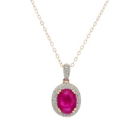 Oval Ruby & Pave' Diamond Pendant on Chain, 14K Gold 1.75 ct