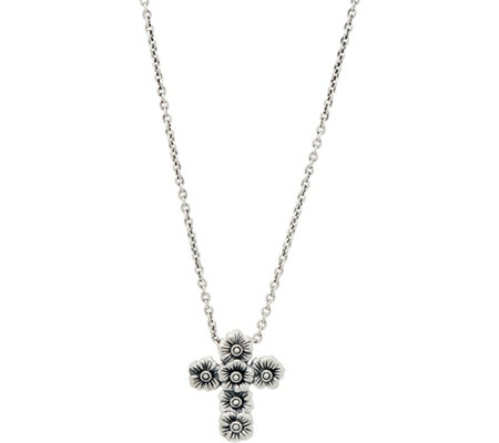 JAI Sterling Carved Floral Petite Cross Pendant on Chain