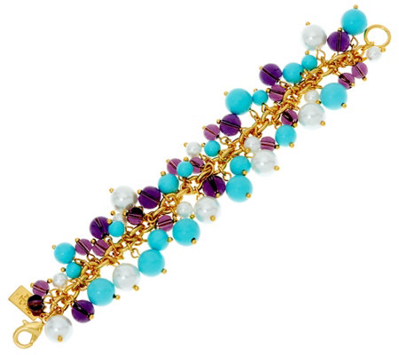 """As Is"" The Elizabeth Taylor Blue and Purple Cluster Bead Bracelet"