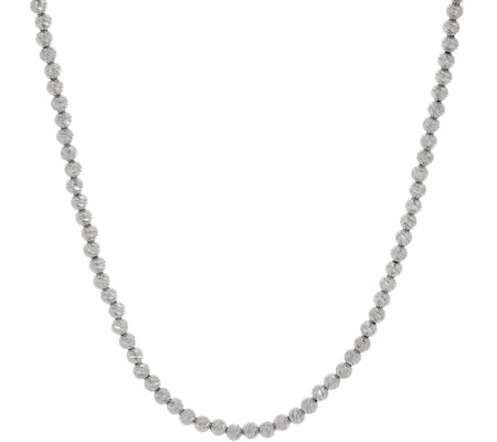 Italian Silver Adjustable Diamond Cut Bead Necklace, 15.0g