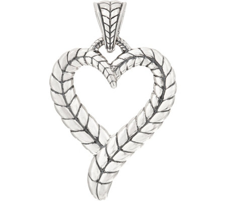 JAI Sterling Silver Basketweave Heart Enhancer, 19.6g