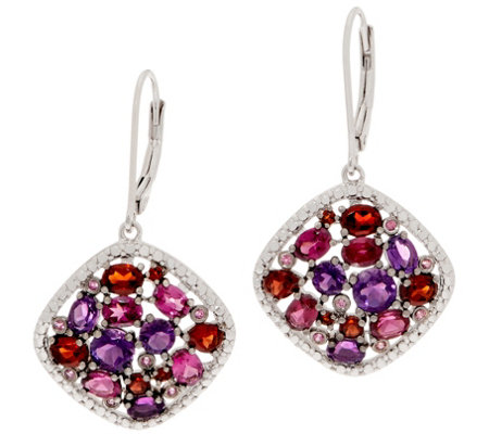 Amethyst & Rhodolite Mosaic Earrings, Sterling Silver