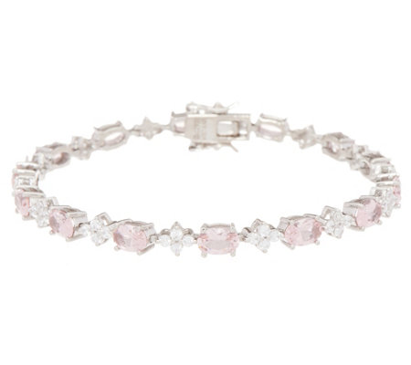 Diamonique and Simulated Morganite Oval Tennis Bracelet Sterling Silver