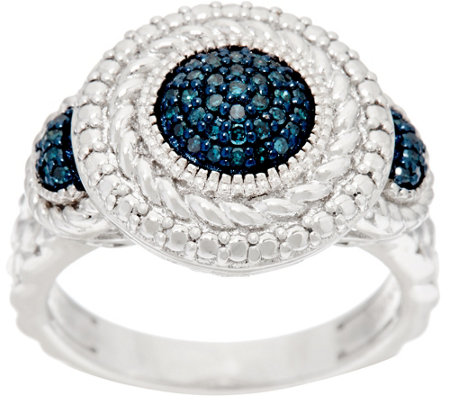 """As Is"" Round Textured Color Diamond Ring, Sterling 1/5 cttw, Affinity"