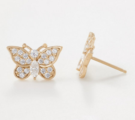 Diamonique Royal Collection Butterfly Stud Earrings