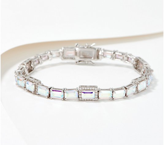 Diamonique Aurora Borealis Emerald Cut Tennis Bracelet Sterling Silver