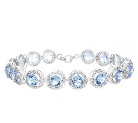 Sterling 20.20 cttw Sky Blue and White Topaz Tennis Bracelet